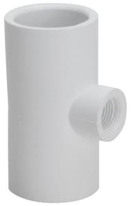 Schedule 40 Slip x Slip x Female PVC Tee in White S402