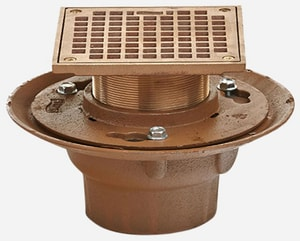 Jay R. Smith 2 in. No-Hub Floor Drain with Round Nickel Bronze Top S2005Y02A05NB