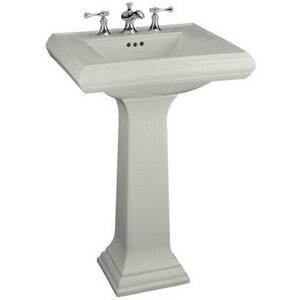 Kohler Memoirs® 3-Hole Pedestal Rectangular Bathroom Sink with 8 in. Faucet Centerset and Rear Center Drain K2238-8
