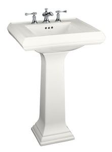 Kohler Memoirs® 3-Hole Pedestal Rectangular Bathroom Sink with 4 in. Faucet Centerset and Rear Center Drain K2238-4