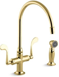 Kohler Essex® 2-Hole Kitchen Sink Faucet with Sidespray and Double Wristblade Handle K8763