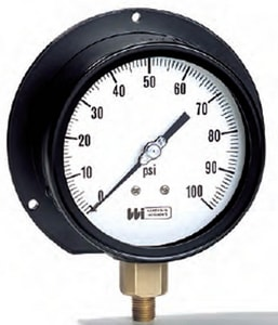 Weiss Instruments 4-1/2 x 1/2 in. 200 psi Stainless Steel Lower Mount Pressure Gauge WNF4UGY2200