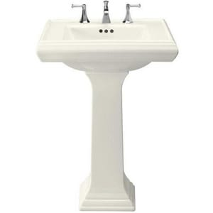 Kohler Memoirs® 3-Hole Bathroom Rectangular Lavatory Sink with 8 in. Faucet Centerset and Rear Center Drain K2258-8