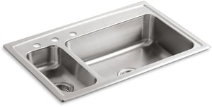 Kohler Toccata™ 33 x 22 x 7-11/16 in. Top Mount High/Low Double-Bowl Kitchen Sink With Disposal Bowl 3 Hole On Left K3347L-3-NA