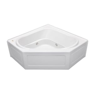 Jacuzzi Capella® 55 x 55 in. 8-Jet Acrylic Corner Skirted Whirlpool Bathtub with Center Drain and J2 Basic Control JCPS5555WCR2XX