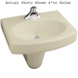Kohler Pinoir® 3-Hole Wall Mount Widespread Oval Bathroom Sink with 8 in. Faucet Centerset K2035-8