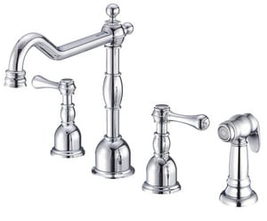 Danze Opulence® 4-Hole Kitchen Faucet with Double Lever Handle and Metal Sidespray DD422257