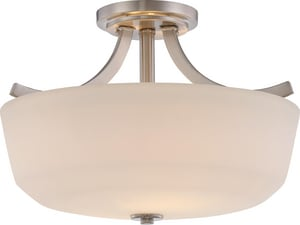 Nuvo Lighting Laguna 10-5/8 in. 2-Light Semi-Flush Mount Ceiling Fixture in Brushed Nickel N605826