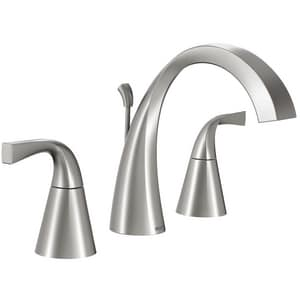 Moen Oxby™ 1.2 gpm High Arc Bathroom Faucet with Double Lever Handle in Spot Resist Brushed Nickel MWS84661SRN