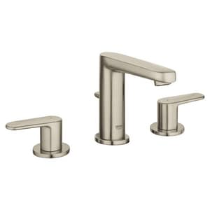 Grohe Europlus® 5-13/16 in. 3-Hole Deckmount Widespread Bathroom Faucet with Double Lever Handle in Starlight Brushed Nickel G20302ENA