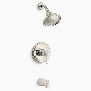 Kohler Devonshire® 2 gpm Bath and Shower Valve Trim with Single Lever Handle, Slip-Fit Spout and Showerhead in Vibrant Polished Nickel KTS395-4SE-SN