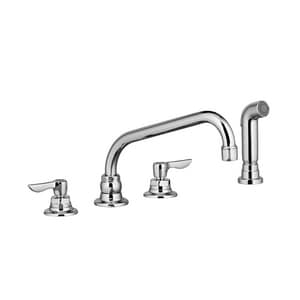 American Standard Monterrey 1 5 Gpm 4 Hole Deck Mount Widespread Kitchen Sink Faucet With Single Lever Handle Swivel Spout And Spray 6404141 002