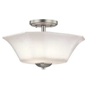 Kichler Lighting Serina 2-Light Semi Flushmount Ceiling Fixture with Satin Etched with White Inside Glass KK43636