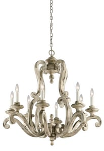 Kichler Lighting Hayman Bay™ 32-1/2 in. 8-Light Large Chandelier in Distressed Antique White KK43265DAW