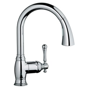 Grohe Bridgeford™ 1.5 gpm Single Lever Handle Kitchen Sink Faucet 360 Degree Swivel Spout in Starlight Polished Chrome G33870002