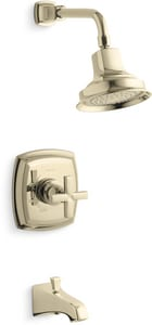 Kohler Margaux® 2.5 gpm Bath and Shower Valve Trim with Single Cross Handle, Spout and Showerhead KTS16225-3