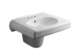 Kohler Brenham™ 3-1/4 in. 3-Hole Wall Mount or Concealed Carrier Arm Oval Rectangle Bathroom Sink with 8 in. Widespread Faucet Hole, Shroud and Rear Center Drain KOH1999-8