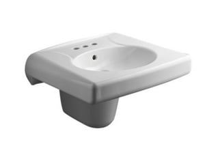 Kohler Brenham™ 3-1/4 in. 3-Hole Wall Mount Oval Rectangle Bathroom Sink with 4 in. Faucet Centerset Hole, Shroud and Rear Center Drain KOH1999-4