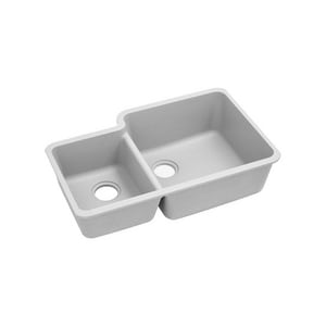 Elkay Quartz Classic® 33 x 20-11/16 in. No-Hole Double Bowl Undermount Kitchen Sink EELGOU3321L0