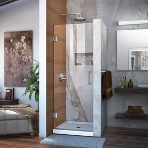 Bath Authority Unidoor 30 in. Frameless Hinged Shower Door with Clear Glass DSHDR20307210F