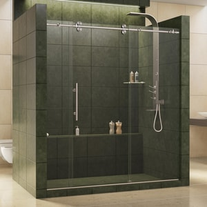Bath Authority Enigma 72 in. Frameless Sliding Shower Door with Clear Tempered Glass DSHDR60727912