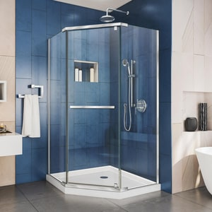 Dreamline® Prism 38-1/8 in. Frameless Pivot Shower Enclosure with Tempered Glass DSHEN2138380