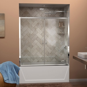 Bath Authority Visions 60 in. Frameless Sliding Tub and Shower Door with Clear Glass DSHDR1160586