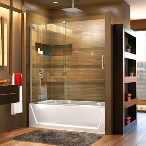 Dreamline® Mirage-X 60 in. Frameless Sliding Tub and Shower Door with Left Wall Bracket DSHDR1960580L