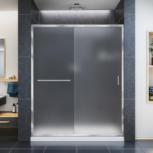 Bath Authority Infinity-Z 60 in. Frameless Sliding Shower Door with Frosted Glass DSHDR0960720FR
