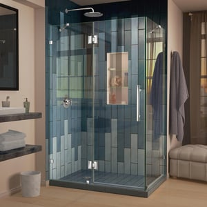 Bath Authority Quatra Lux 46-5/16 in. Frameless Hinged Shower Enclosure with Tempered Glass DSHEN1332460
