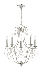 Craftmade International Lilith 60W 5-Light Candelabra E-12 Base Incandescent Chandelier with Clear Glass C41125