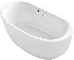 Kohler Sunstruck® Acrylic Freestanding Oval Bathtub with Heated Surface, Fluted Shroud and Center Drain K1967-VBW