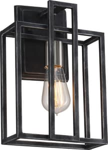 Nuvo Lighting Lake 60W 1-Light Medium E-26 Base Incandescent Wall Sconce in Iron Black with Brushed Nickel Accents N605856