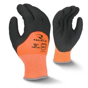 Radians Nylon Latex Coated Gloves in Black and Hi-Vis Orange RRWG17