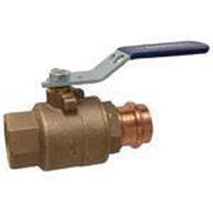Nibco Press System® Threaded x Press Female Bronze Ball Valve with Locking Lever Handle NTPC58570LL