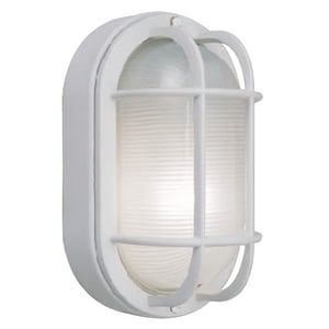 LED Nautical Bulkhead Oval Wall Fixture in White CLED882206
