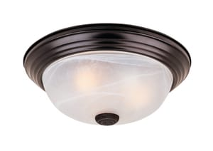 14-9/10 in. 2-Light 60W Flushmount Ceiling Fixture in Oil Rubbed Bronze C1257MORBAL