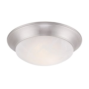 11 in. 15W 1-Light Flushmount Ceiling Fixture with Alabaster Glass in Satin Nickel CLED1101B35