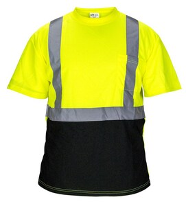 SAS Safety Black Bottom T-Shirt in Yellow, Black and Silver S69016