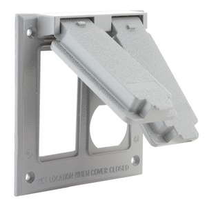 Raco 4-9/16 in. 2-Gang Rugged Metallic Box Mount Device Cover in Grey R51330