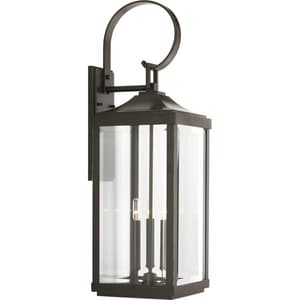 Progress Lighting Gibbes Street 3-Light 60W Up Lighting Large Wall Lantern in Antique Bronze PP560023020