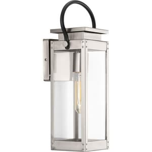 Progress Lighting Union Square 15-7/8 in. 100W 1-Light Outdoor Wall Lantern in Stainless Steel PP560004135