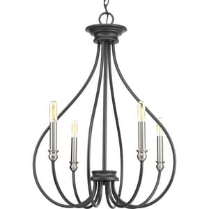Progress Lighting Whisp 4-Light 60W Candelabra E-12 Incandescent Chandelier in Graphite PP400029143