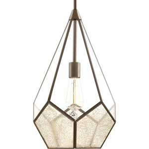 Progress Lighting Cinq 12 in. 1-Light Pendant with Antique Mirror and Clear Glass in Antique Bronze PP531920