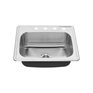 American Standard Colony® 23 x 18 in. 1-Bowl 4-Hole Self-rimming and Drop-in Colony Kitchen Sink in Stainless Steel A20SB8252284S075