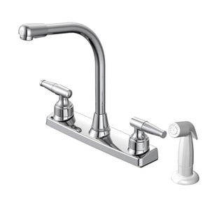 PROFLO® 1.8 gpm Deckmount Kitchen Sink Faucet with Double Lever Handle and Spray in Polished Chrome PFXCM2M211