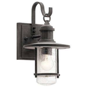 Kichler Lighting 60W 1-Light Incandescent Outdoor Wall Sconce in Weathered Zinc KK49191WZC