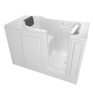 American Standard 105 Premium Series 48 x 28-1/2 in. 13-Jet Acrylic, Fiberglass and Gelcoat Rectangle Built-In 3-Wall Alcove Bathtub with Right Drain A2848105WR