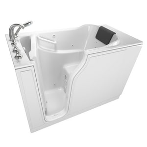 American Standard 109 Premium Series 51-1/2 x 29-3/4 in. 39-Jet Gelcoat and Fiberglass Rectangle Built-In 3-Wall Alcove Bathtub with Left Drain A3052109CL