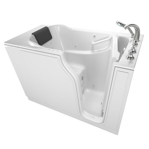 American Standard 109 Premium Series 51-1/2 x 29-3/4 in. 39-Jet Gelcoat and Fiberglass Rectangle Built-In 3-Wall Alcove Bathtub with Right Drain A3052109CR